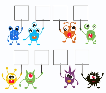 blogg: colorful monsters holding a sign