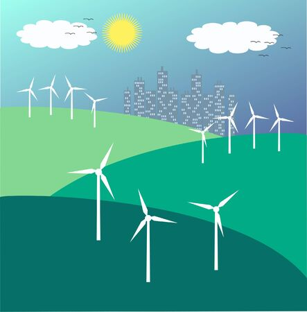 wind turbins Vector