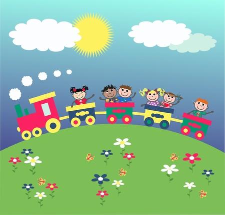 tren caricatura: niños felices en vagones Vectores