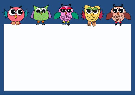 colorful owls holding a card