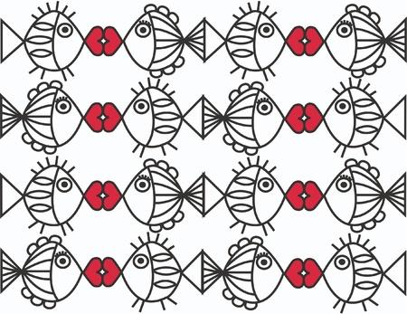 red fish: seamless fish pattern