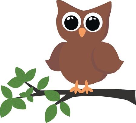 regard: un hibou brun assis dans un arbre Illustration