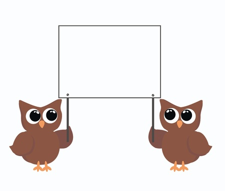 two brown owls holding a placard Stock Vector - 9247758