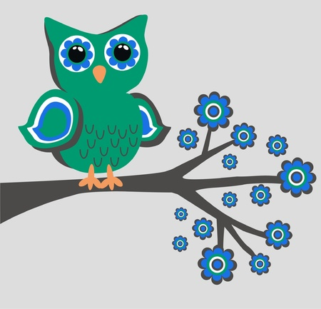 cartoon owl: a green owl sitting on a branch