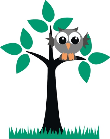 owl illustration: a cute owl sitting on a branch