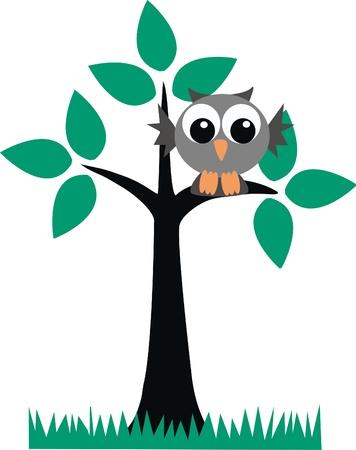 �rboles con pajaros: un lindo b�ho sentado sobre una rama