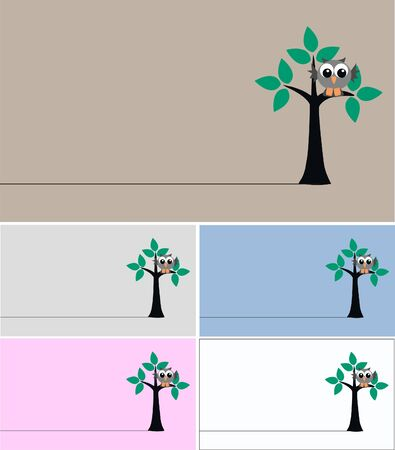 cards with a owl sitting in a tree Vector