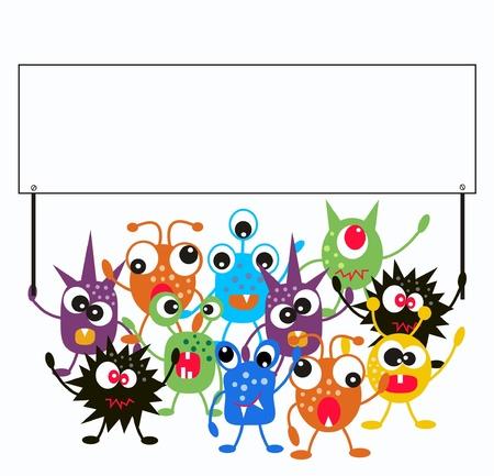 monsters houden een plakkaat Vector Illustratie