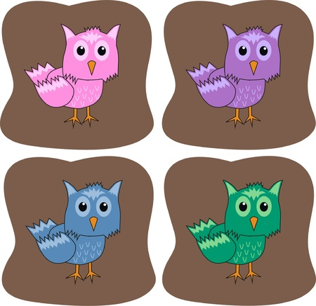colourful owls Stock Vector - 9335386