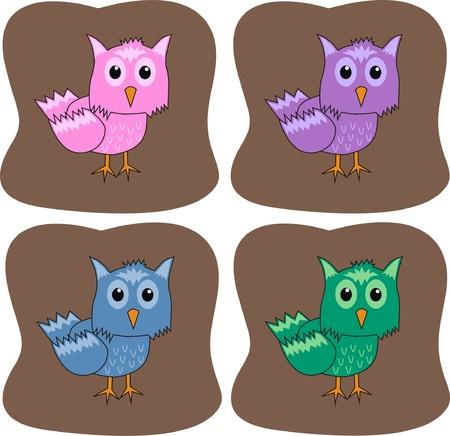 colourful owls Stock Vector - 9335386