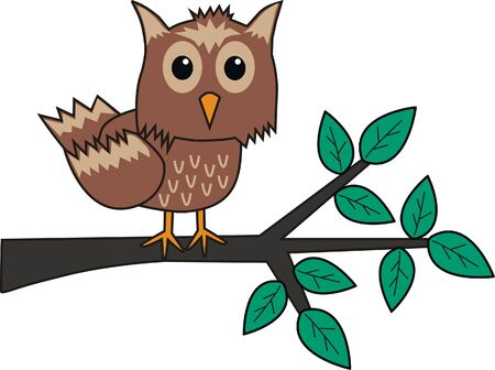 a brown owl sitting on a branch Stock Vector - 9352011
