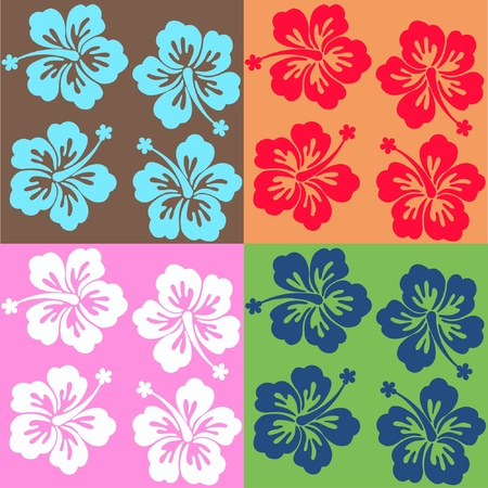seamless surf pattern in four color combinations Vector