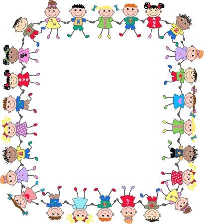 bordures fleurs: kids ethniques mixtes