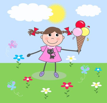 a little girl with a ice cream Vector