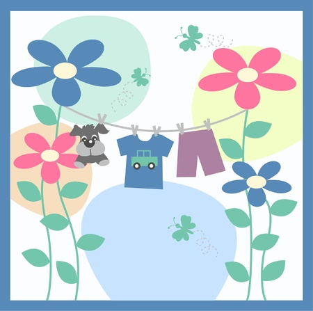 laundry line: tarjeta de presentaci�n de beb�