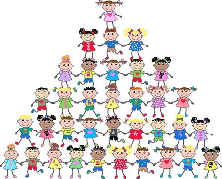 groupe d enfants: kids ethniques mixtes