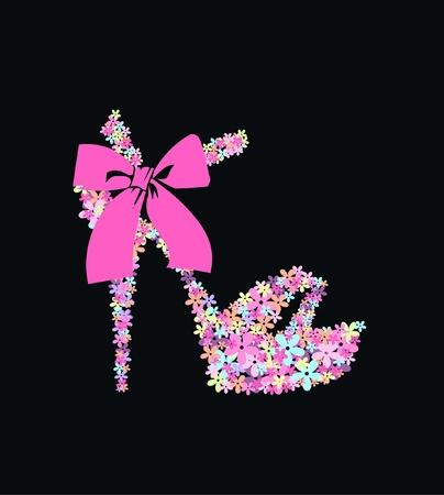 tacones negros: zapatos de flor
