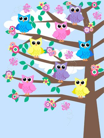 colorful owls sitting in a tree Vector