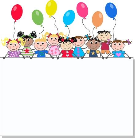 compleanno: bambini di etnici misti Vettoriali