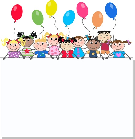 birthday invitation: mixed ethnic children