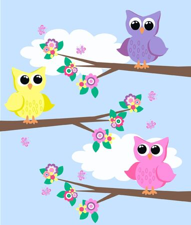 owls in a tree Stock Vector - 9573776