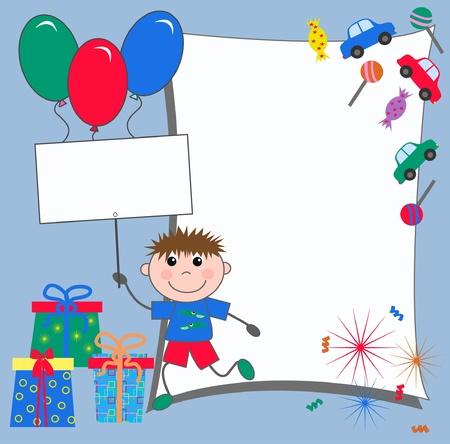 ni�os sosteniendo un cartel: tarjeta de celebraci�n o invitaci�n Vectores