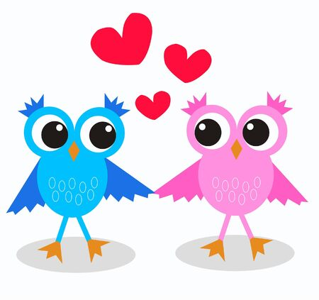 two cute owls in love  Stock Vector - 9719670