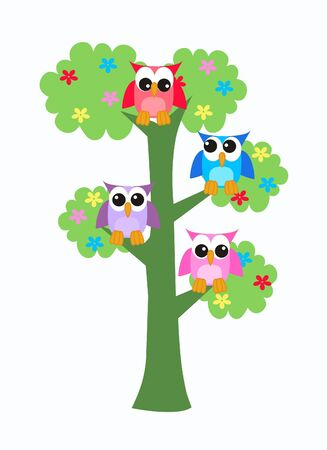 owls in a tree Stock Vector - 9719673