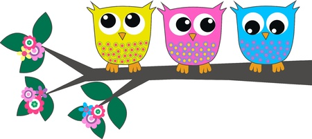 young bird: three cute owls sitting together on a branch