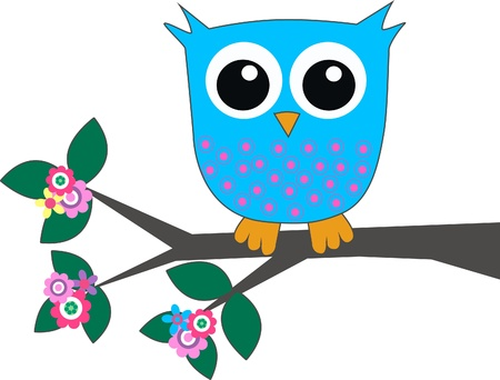 owl on branch: a cute blue owl Illustration