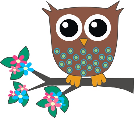 a brown little owl sitting on a branch Vector