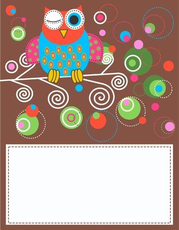 hibou: carte de la Chouette Illustration