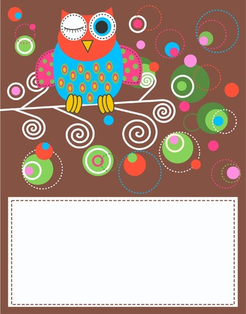 owl card Stock Vector - 9764678