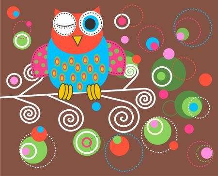 owl symbol: a colourful fantasy owl
