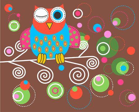 buho sabio: un b�ho colorida fantas�a