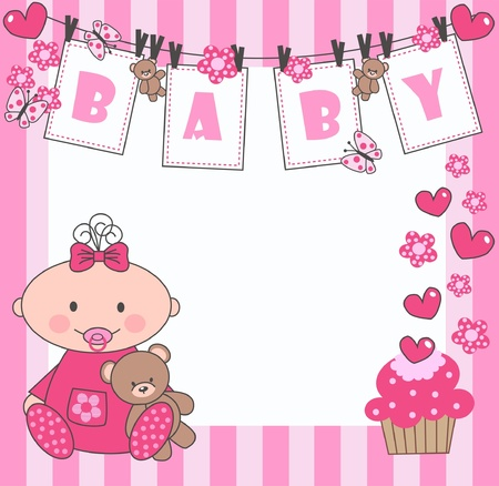newborn baby girl Stock Vector - 9764665