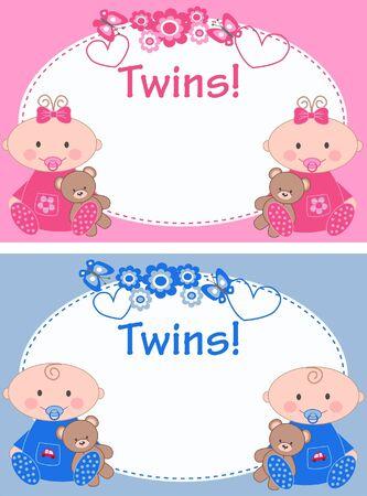 newborn twins Vector