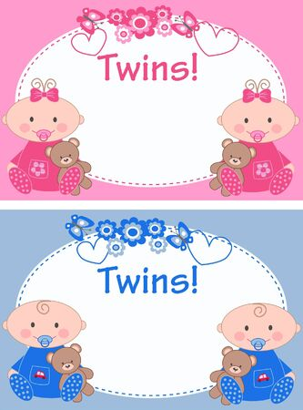 newborn twins Illustration