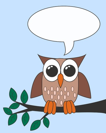 owl with a speech bubble Vector