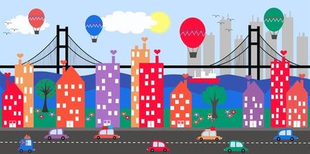 case colorate: skyline cittadino Vettoriali