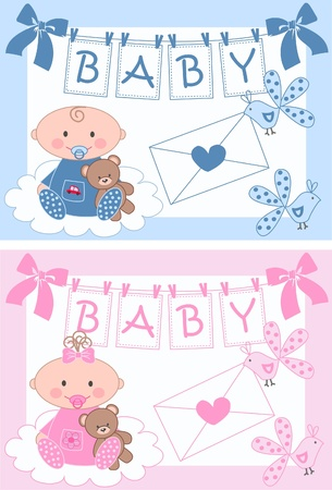newborn baby boy and baby girl Stock Vector - 9829390
