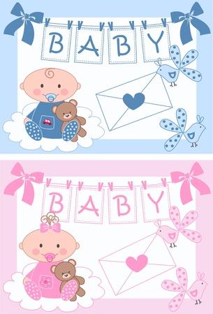 newborn baby boy and baby girl Stock Vector - 9829390