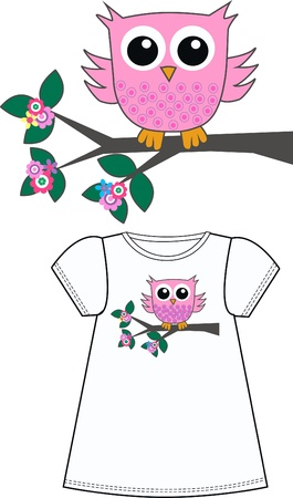 owl on branch: pattern for childrens clothes