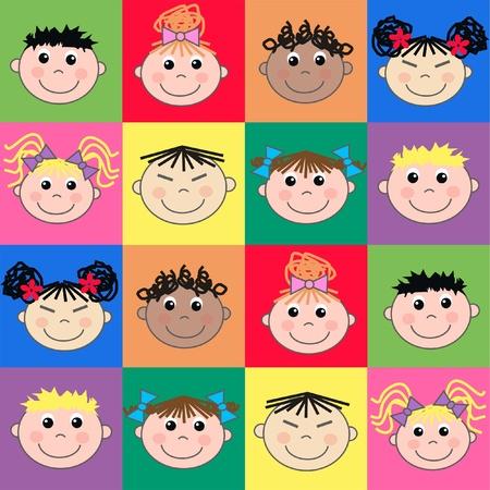 asian culture: etnica miscelati bambini Vettoriali