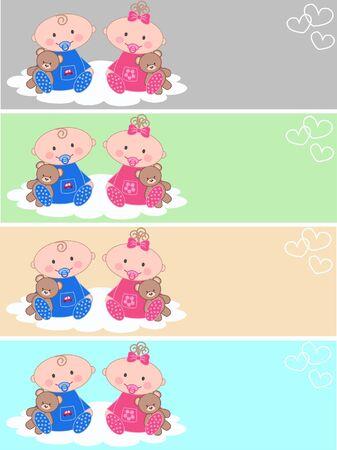 newborn babies Vector