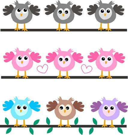 blogg: three different owl headers  Illustration