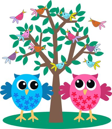 owls Stock Vector - 9959835