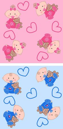 aeamless baby patterns  Vector