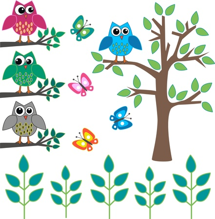 owl on branch: different design elements Illustration