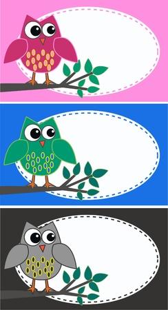 smart card: owls Illustration